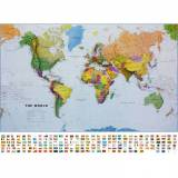 Svět - politická mapa, 136x100 mm, hliníkový rám